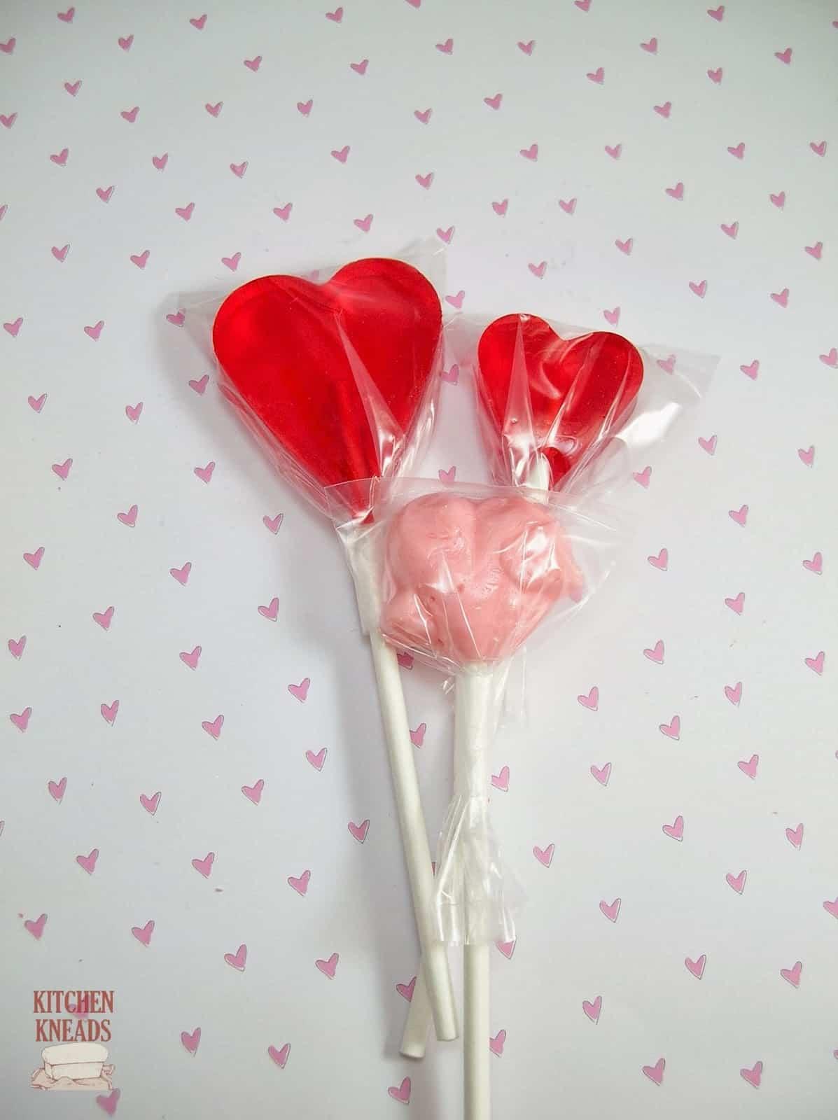 Love heart lollipops