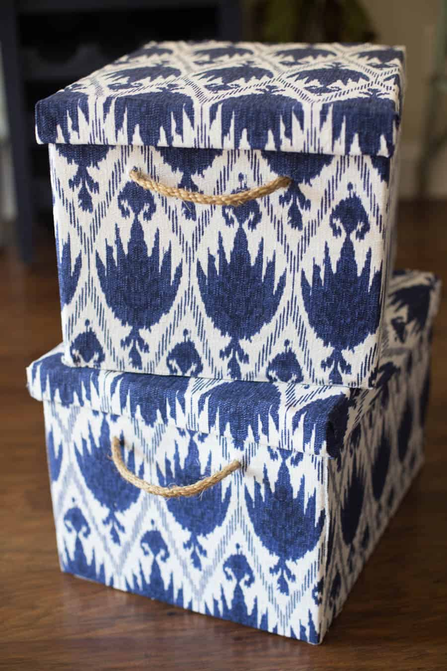 Navy blue storage boxes