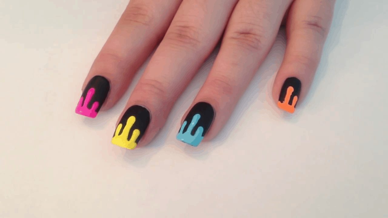 Paint dripping neon nails