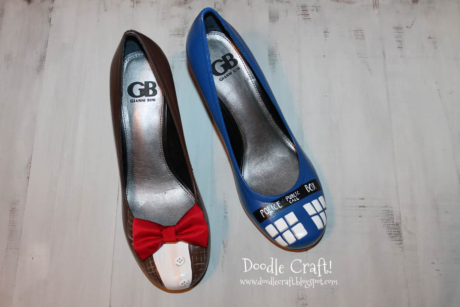 Painted and embellished Dr. Who heels