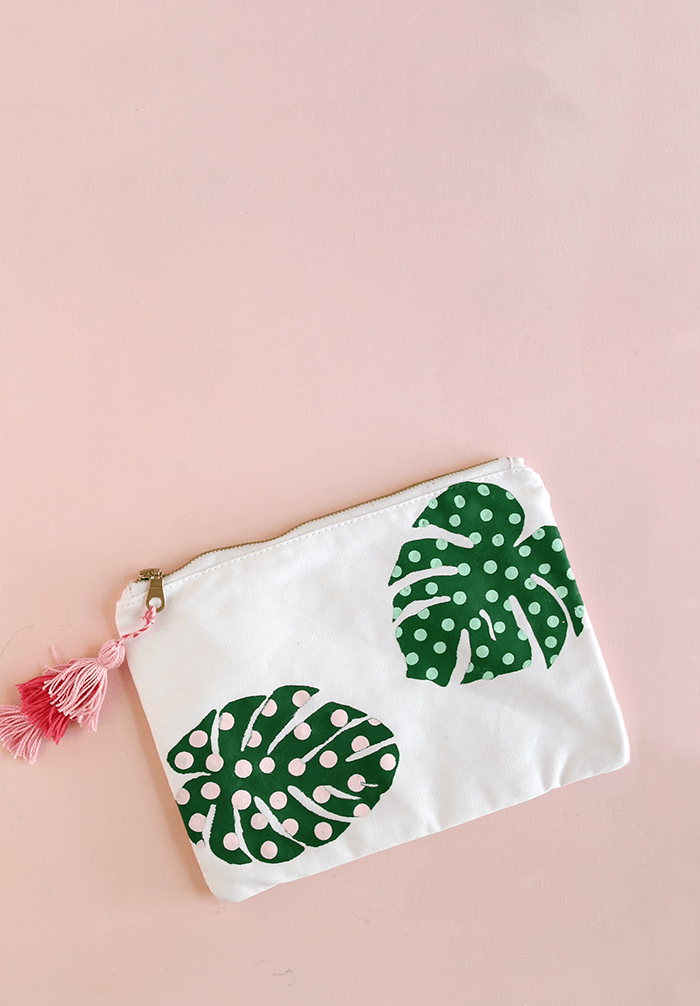 Palm leaf pencil pouch