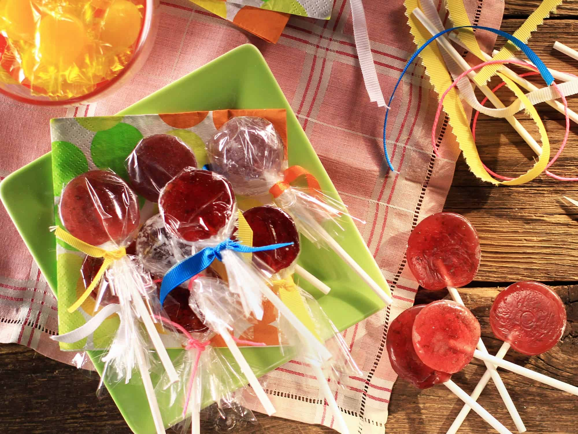 Pomegranate lime lollipops