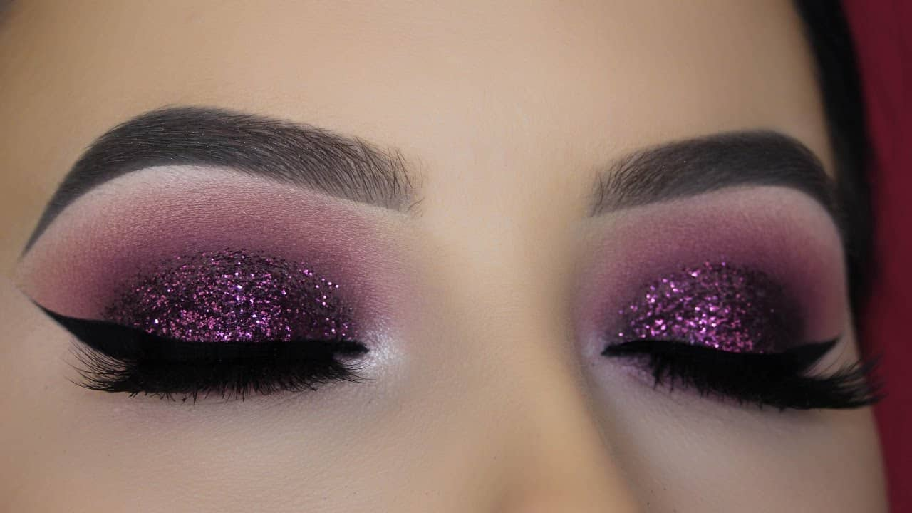 Purple glitter makeup