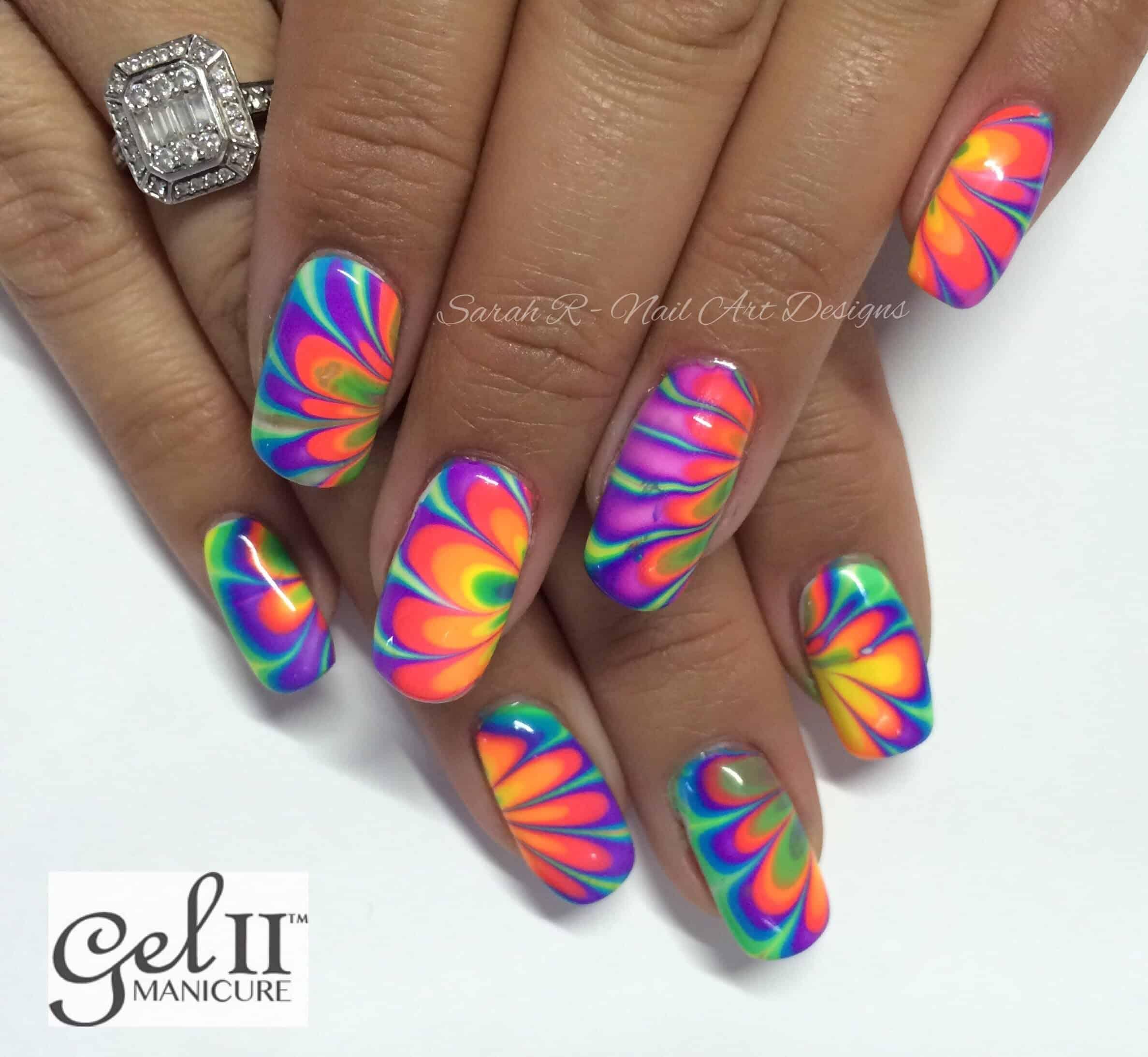 Rainbow neon nails