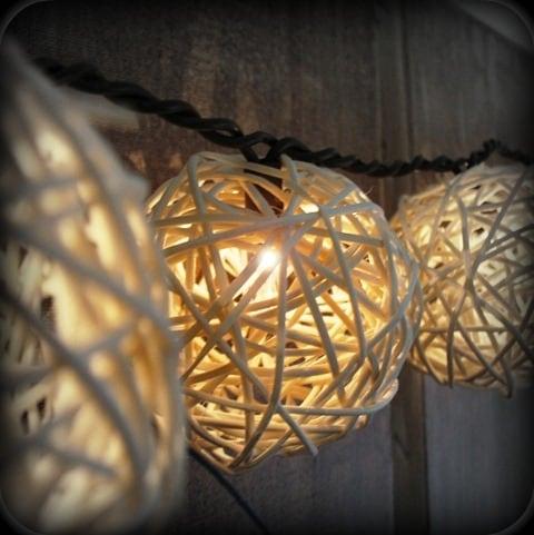 Rattan ball patio lights