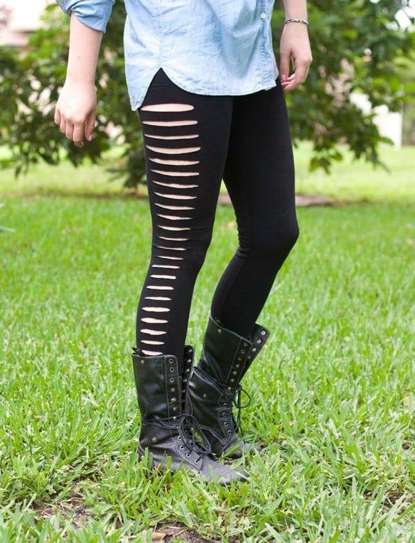 Slashed leggings