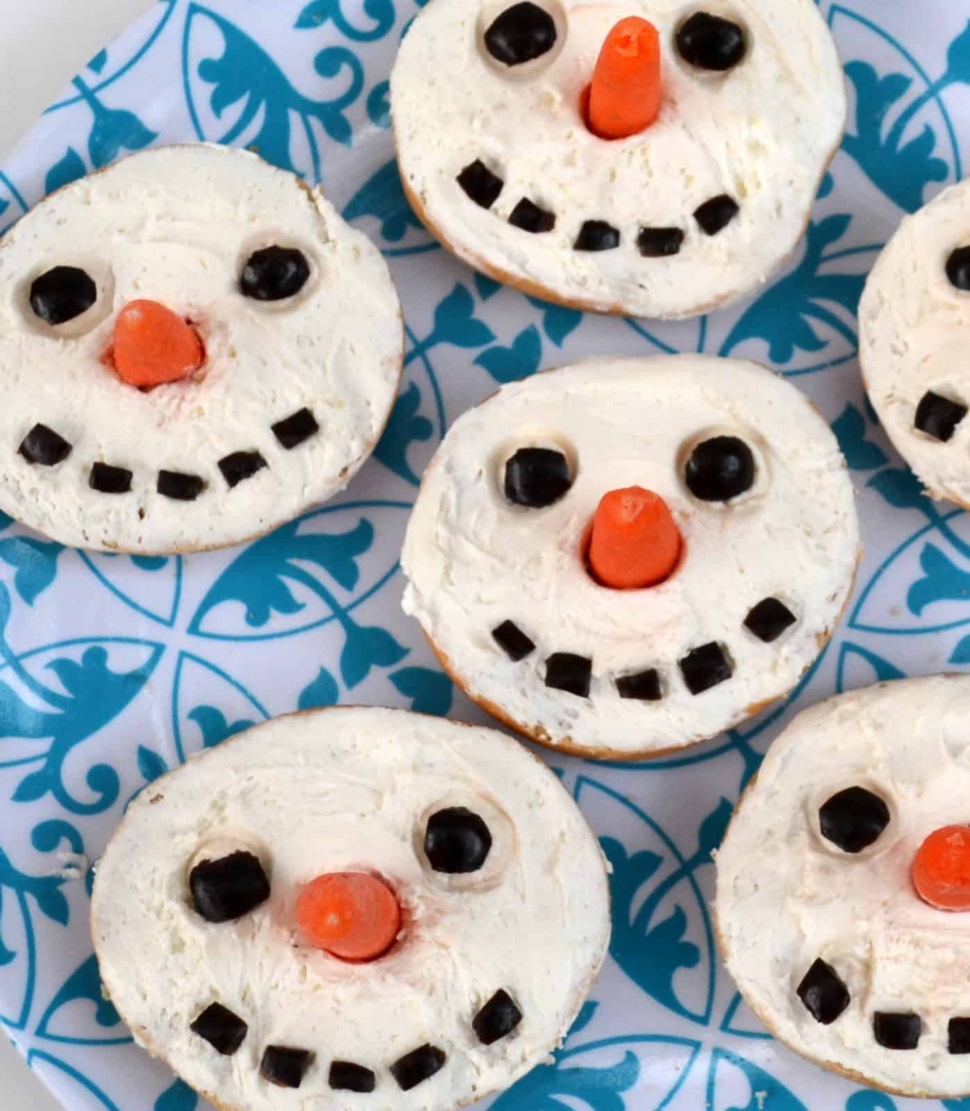 Snowman bagels