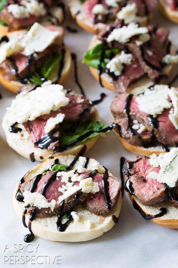 Steak and blue cheese bagel bites