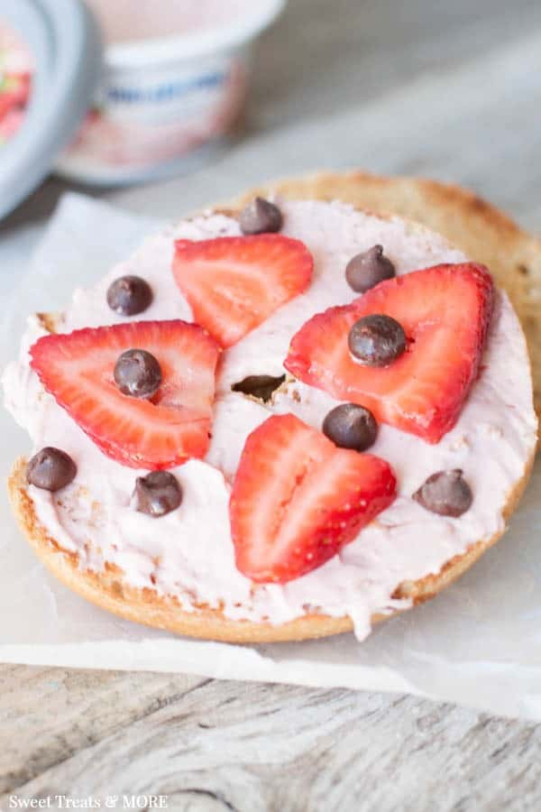 Strawberry chocolate chip bagel