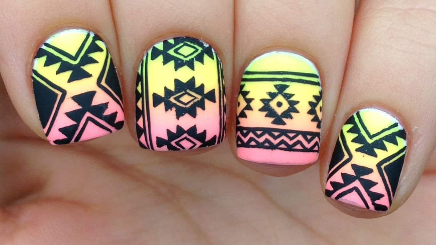 Tribal neon nails