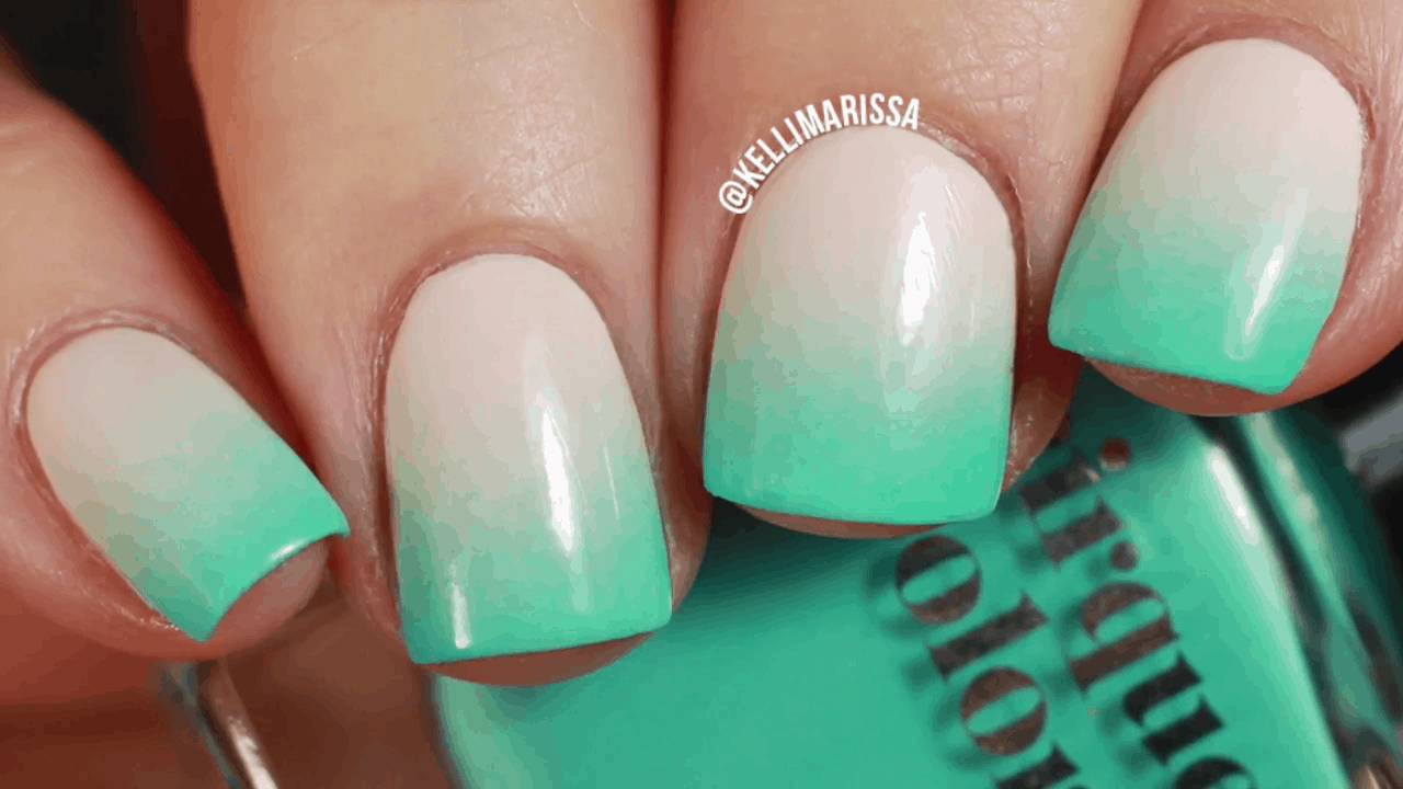 Turquoise ombre neon nails