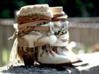 Western style embellished heeled boots 200x150 15 Creative Ways to Upcycle Old Pumps