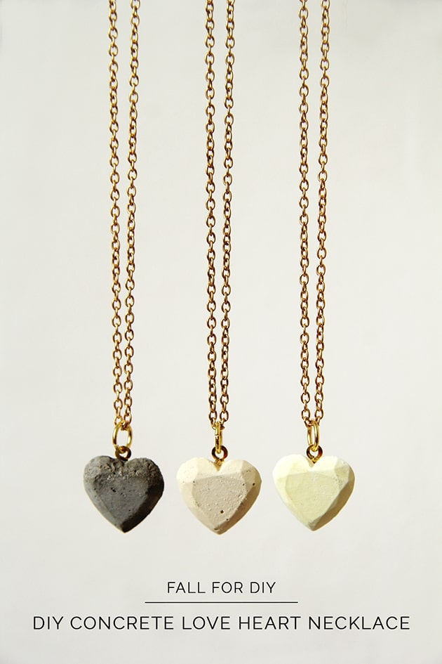 White concrete heart necklace