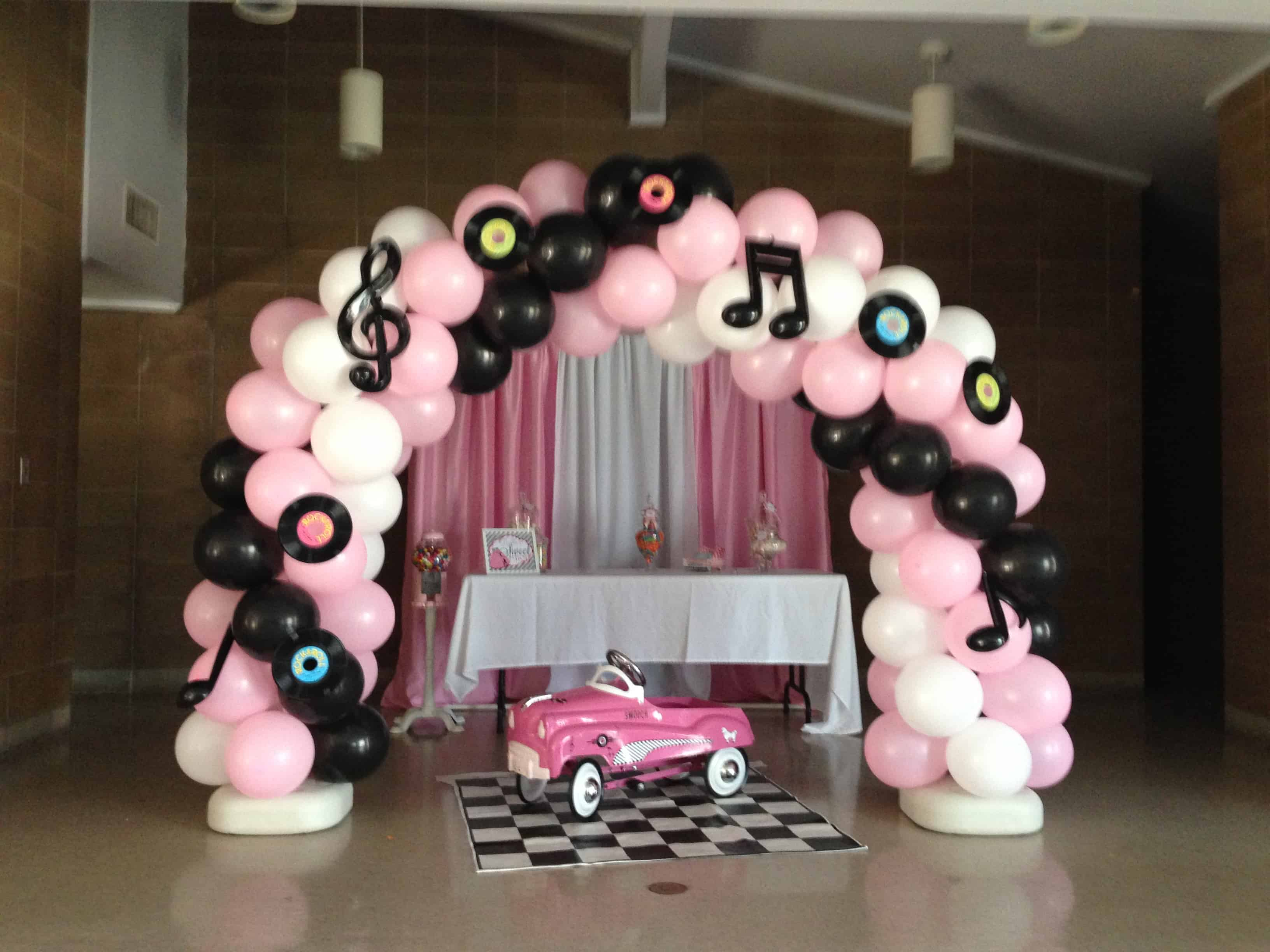 50s rock inspired balloon arch for parties