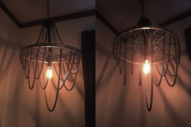 Bicycle wheel chandelier