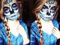 Blue Dia de los Muertas makeup 200x150 15 Halloween Inspired Makeup Tutorials