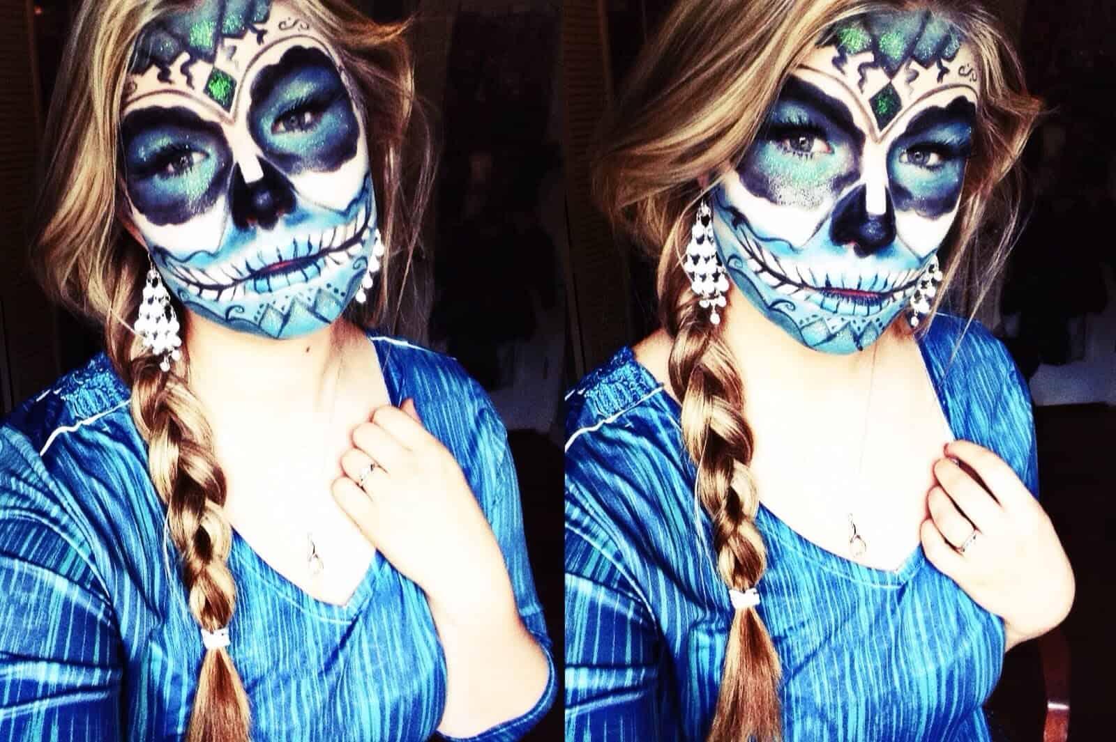 Blue Dia de los Muertas makeup