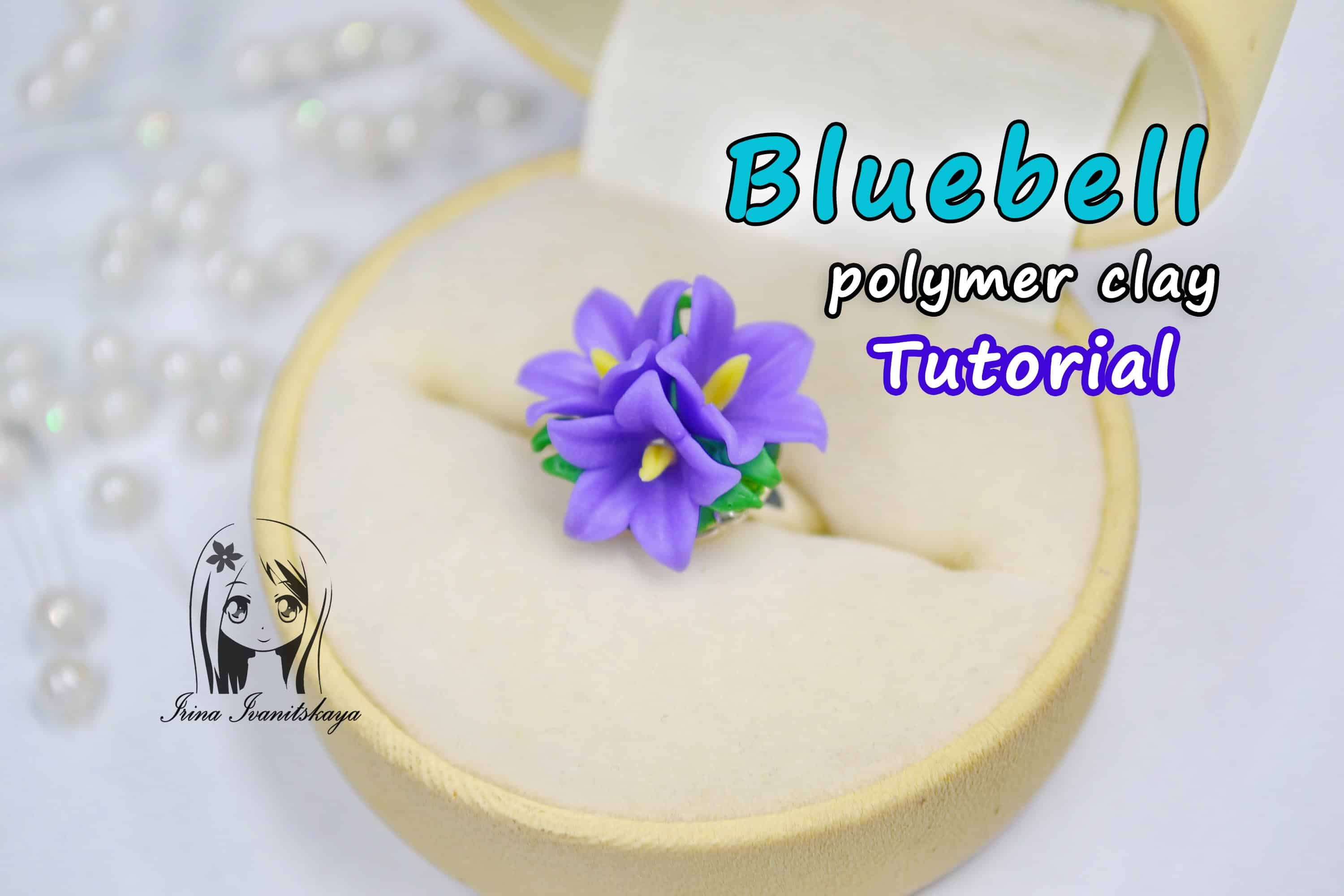 Bluebell polymer clay ring