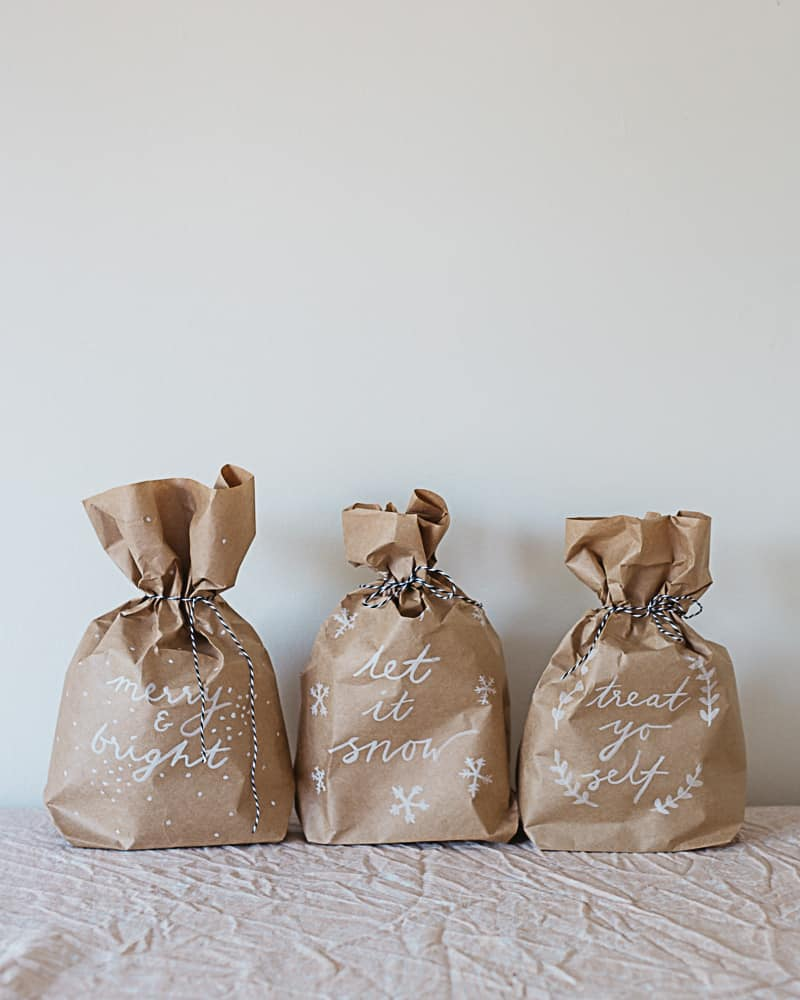 Brown lettered gift bags