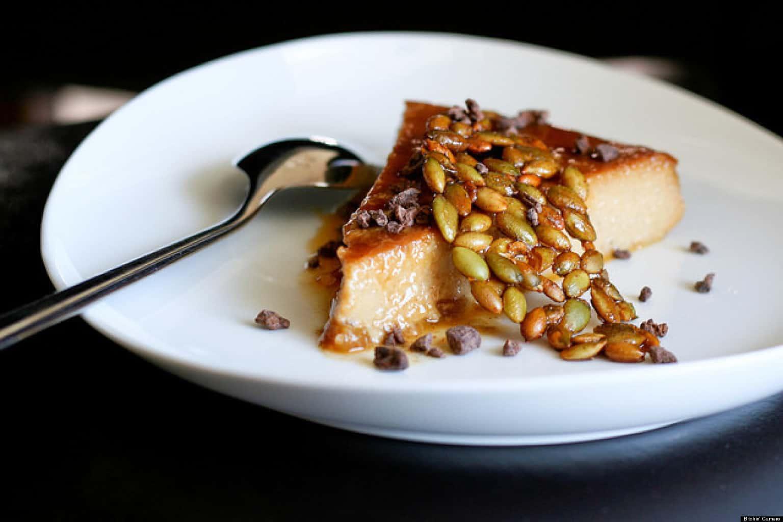 Brown sugar pumpkin seed brittle with cheesecake
