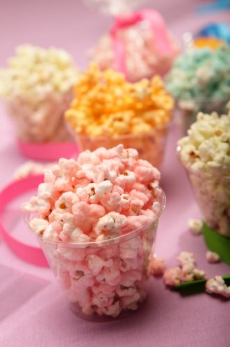 Coloured sweet and salty popcorn