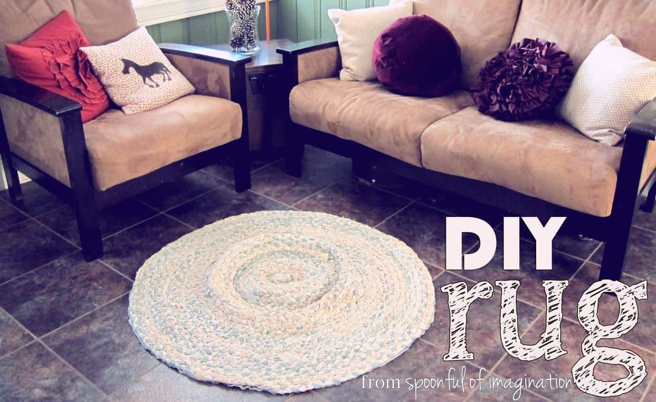 DIY bed sheet rug