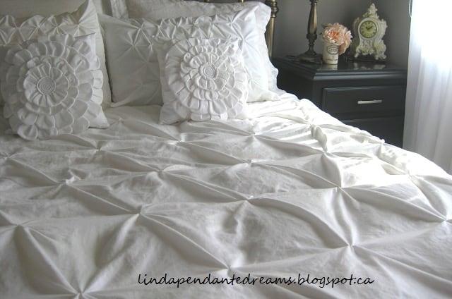 DIY pin tuck duvet from two sheets