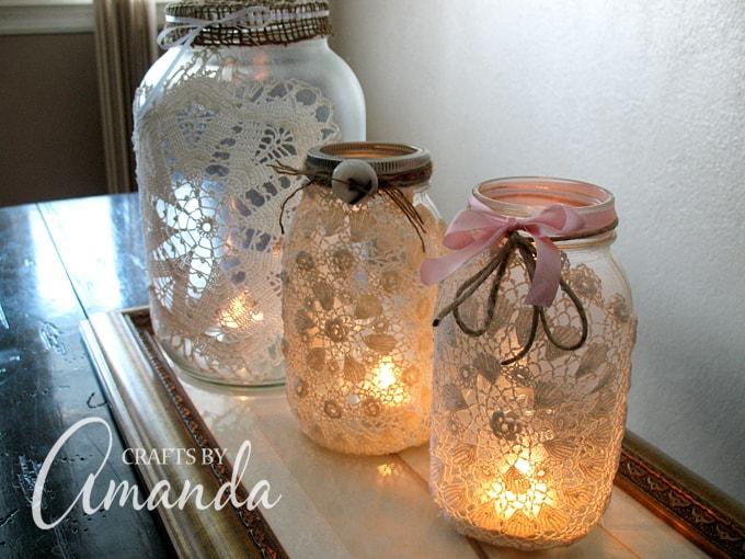Doily mason jar luminary