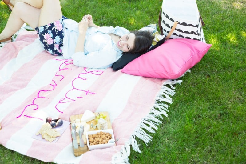 Embroidery picnic blanket