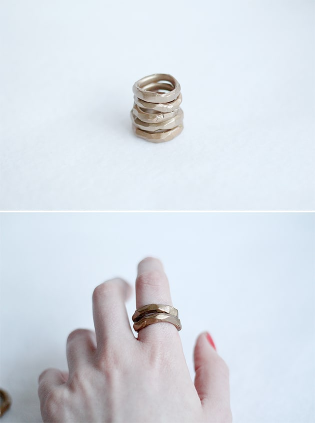 Faux hammered gold rings