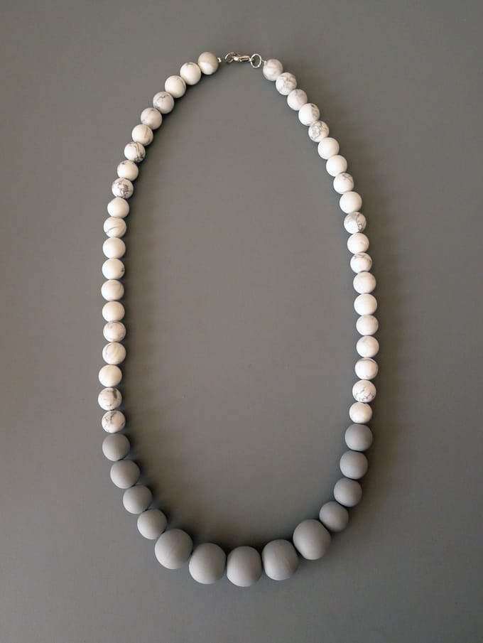 Faux marble bead necklace