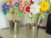 Felt paper and wood skewer flowers 200x150 Saving the Planet: Useful Ways to Upcycle Newspapers