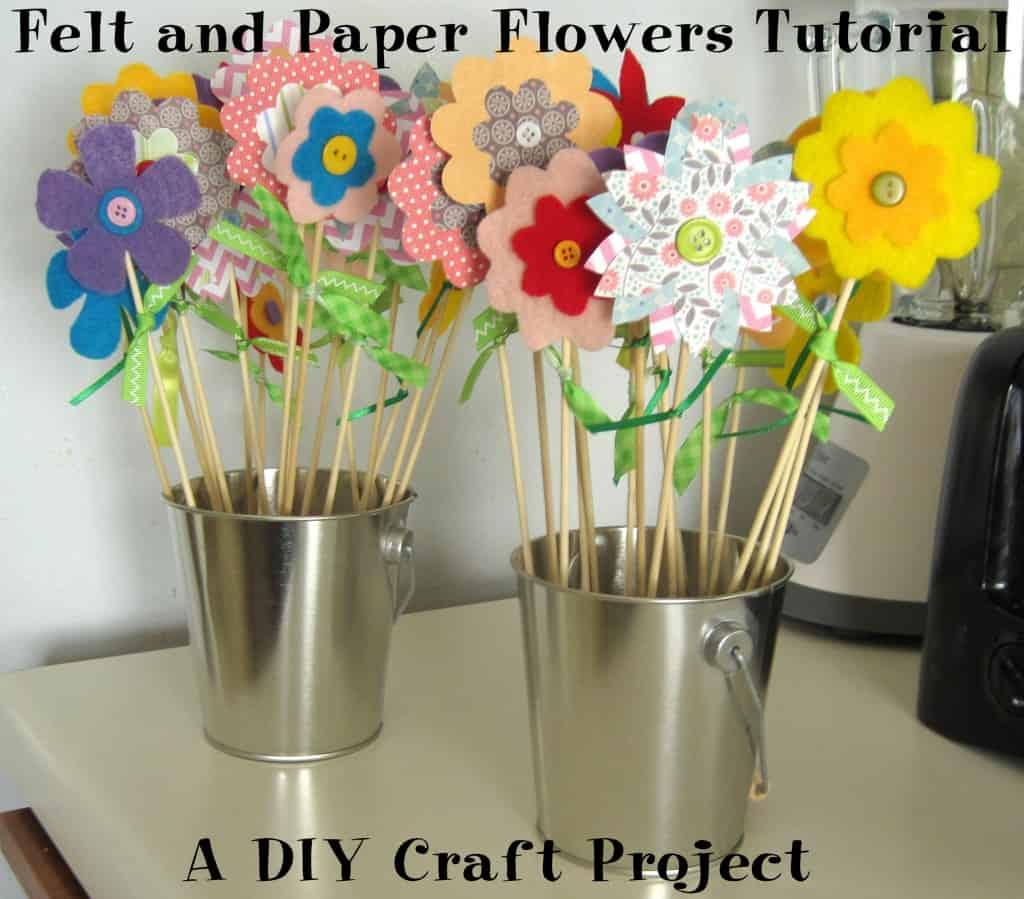 Felt, paper, and wood skewer flowers
