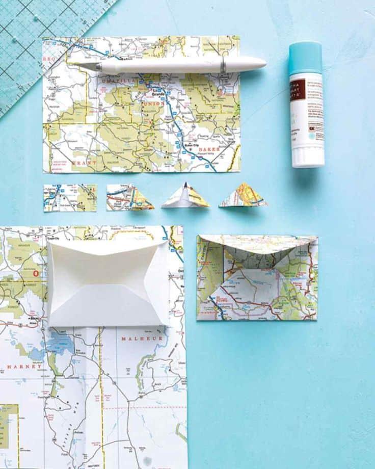 7 Folded Map Memento Envelopes
