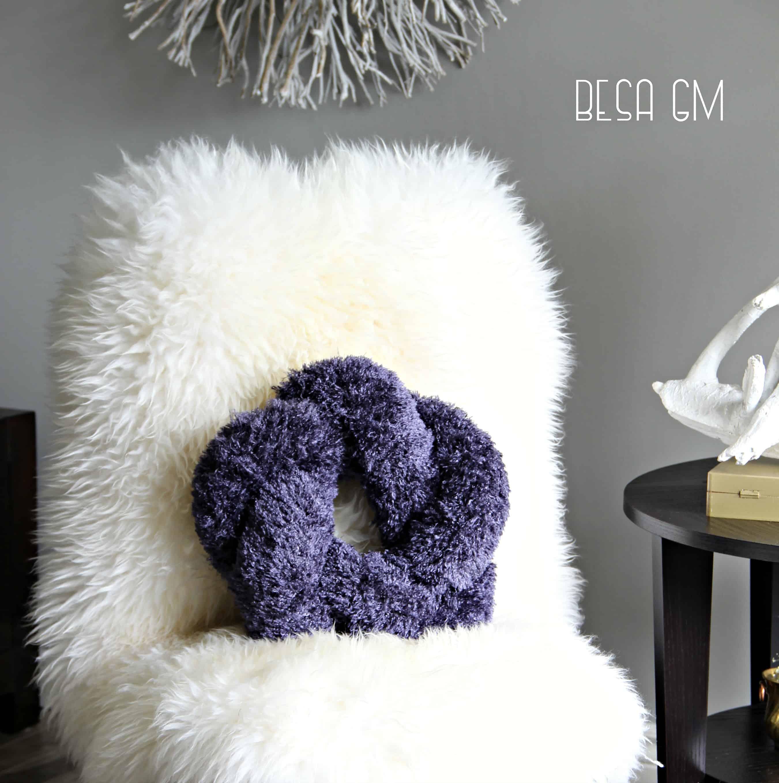 Furry knot pillow