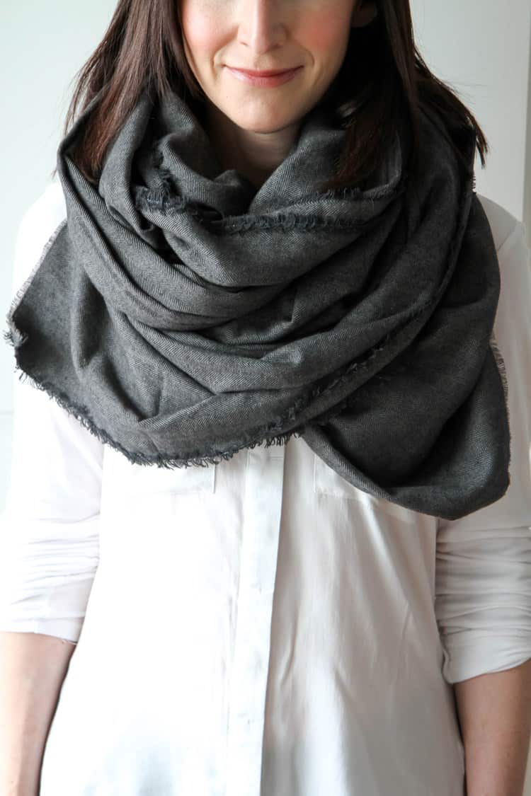 Gray blanket scarf
