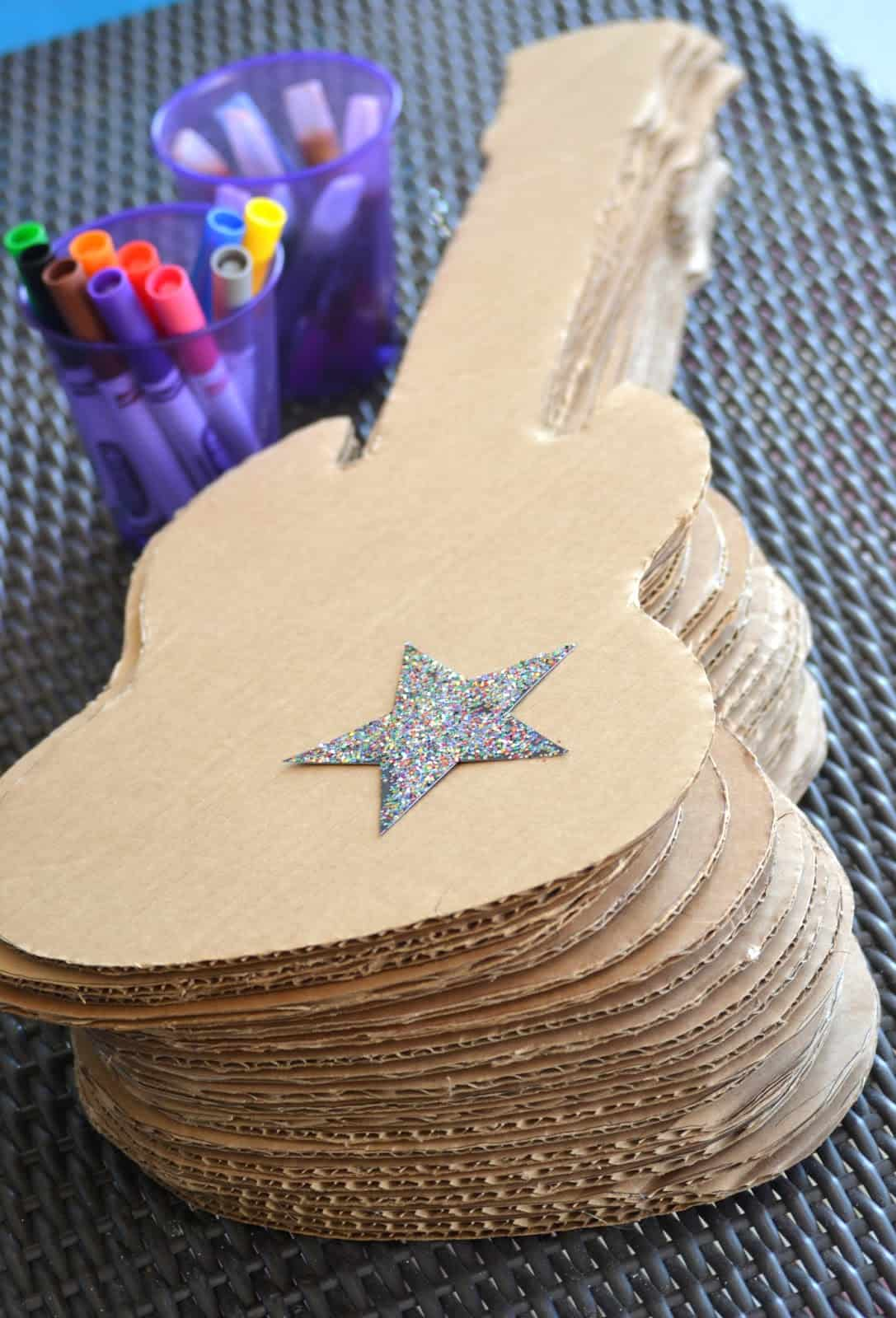 Guitar invites for a rock themed birthday party