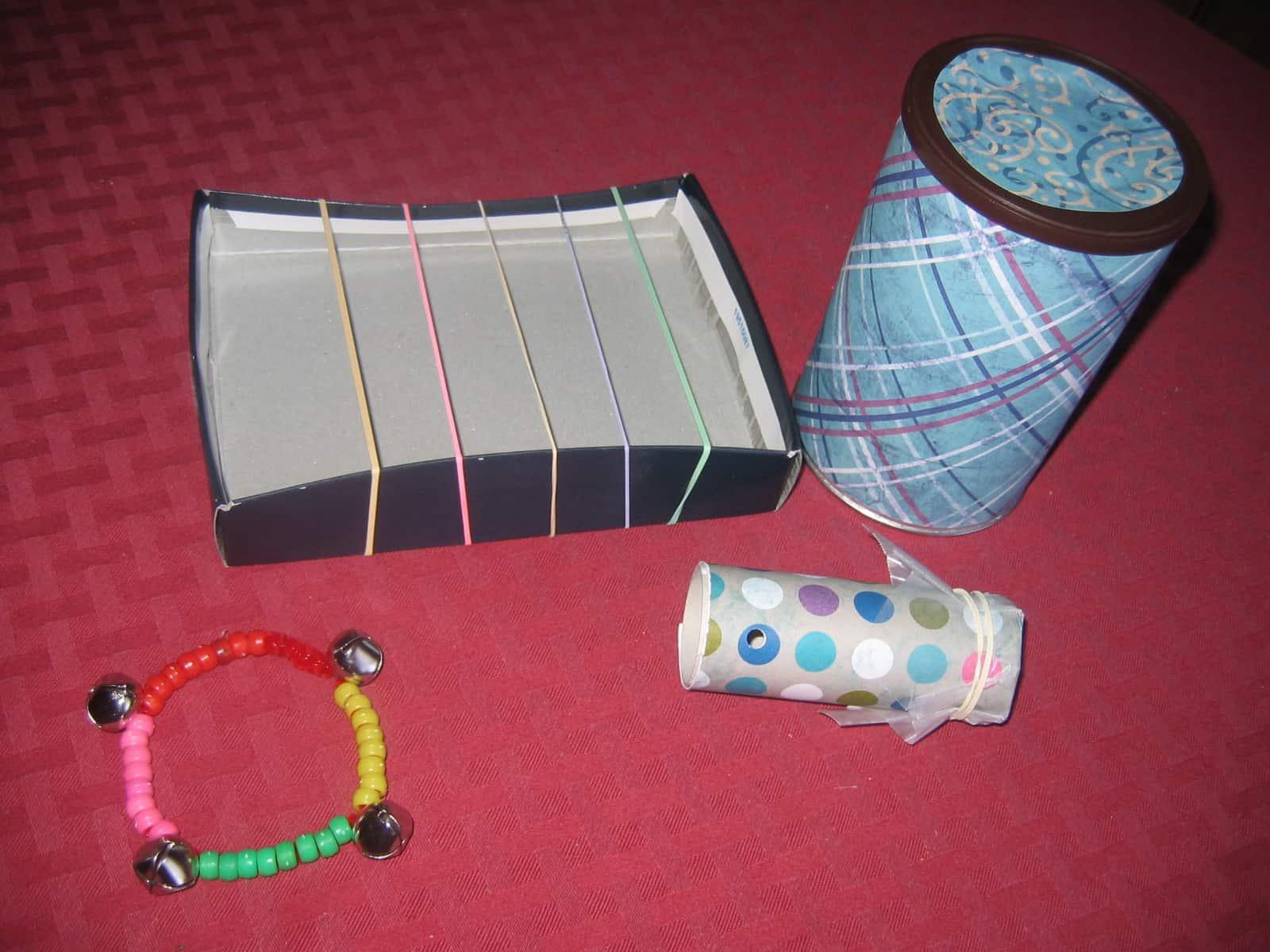 Homemade preschool rock instruments