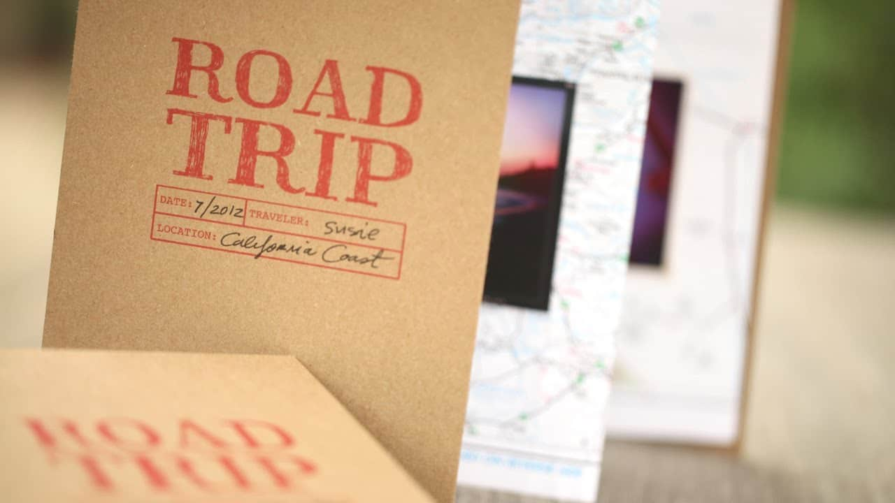 Map backed road trip books