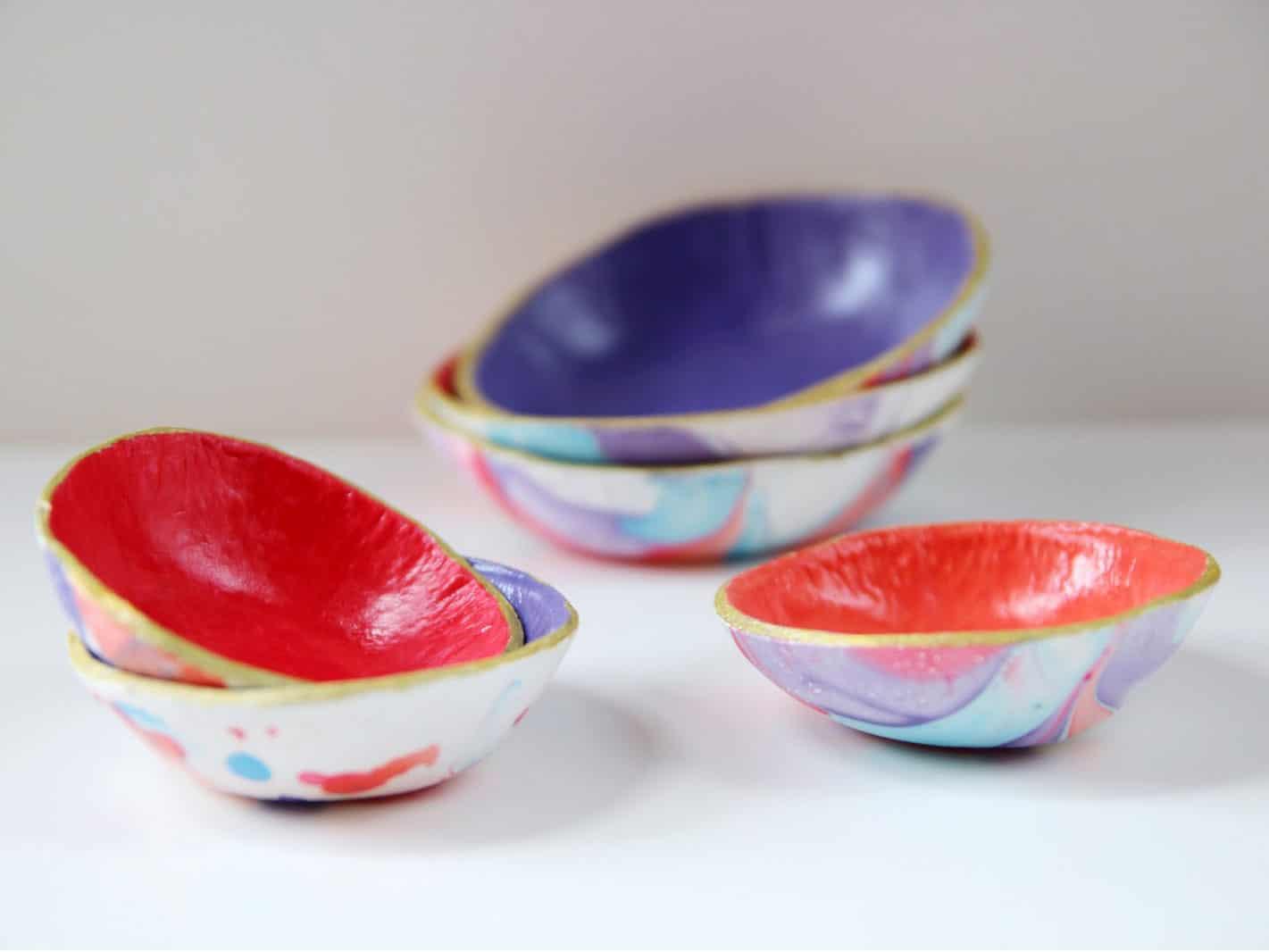 Marbled nail polish bowls