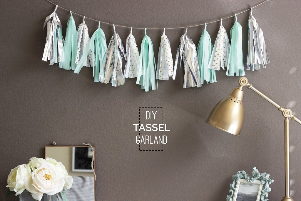Mint and silver tissue paper tassel garland