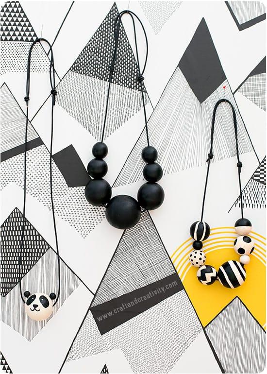 Monochrome bead necklaces
