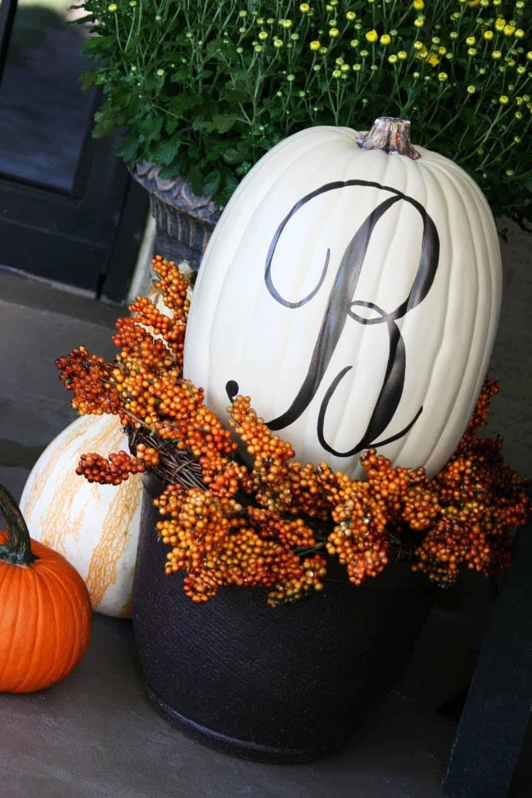 Monogrammed painted pumpkins