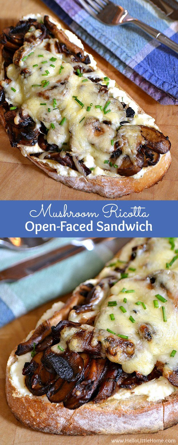 Mushroom ricotta open faced sandwich