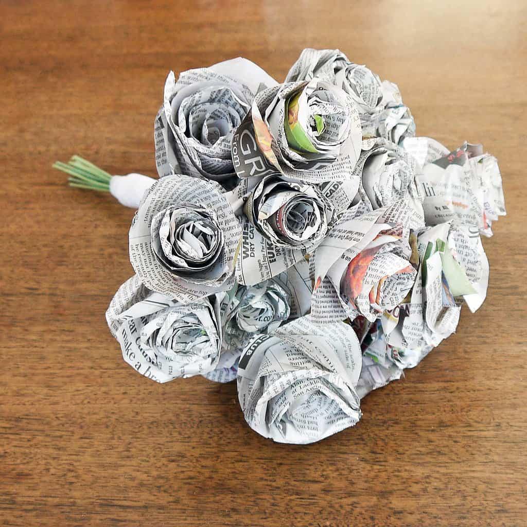 Newspaper rose flower bouquet
