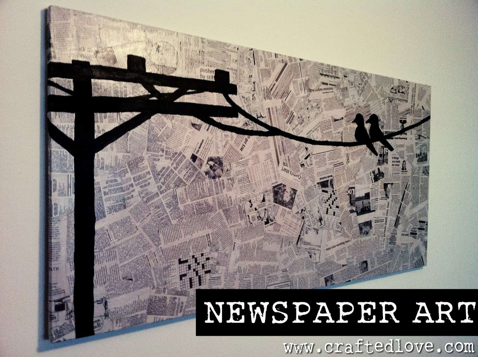 Painted newspaper canvas
