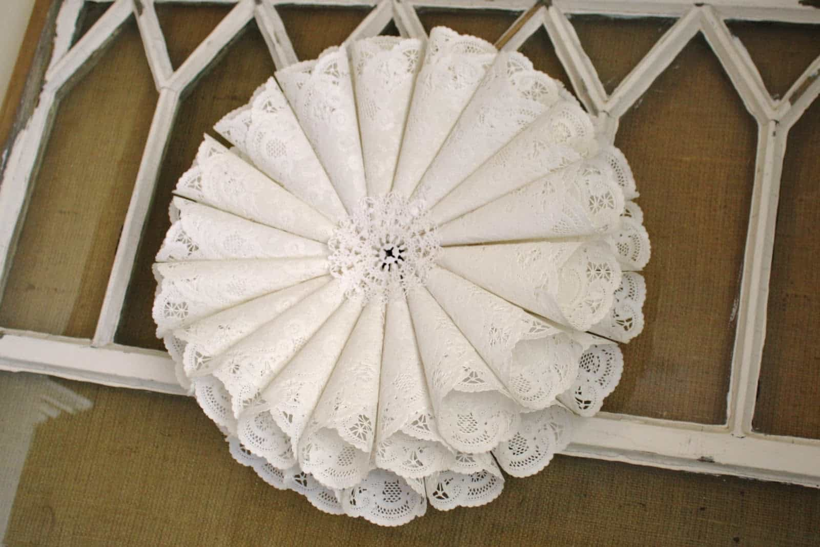 Paper doily wreath