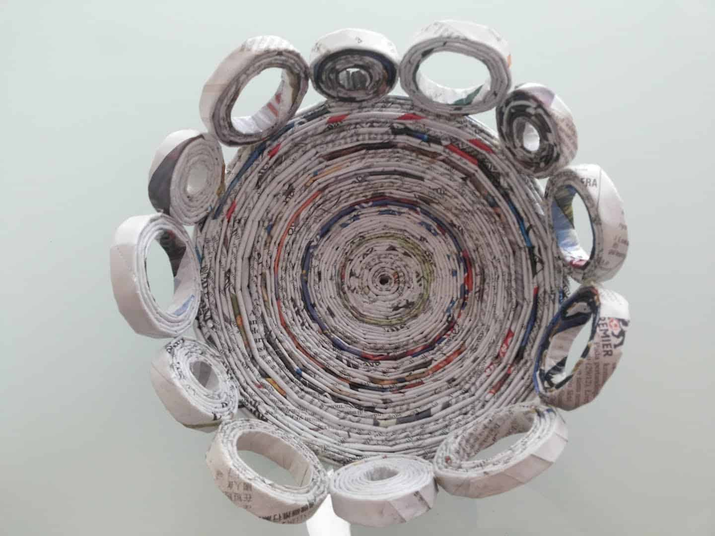 Paper quilled newspaper bowl