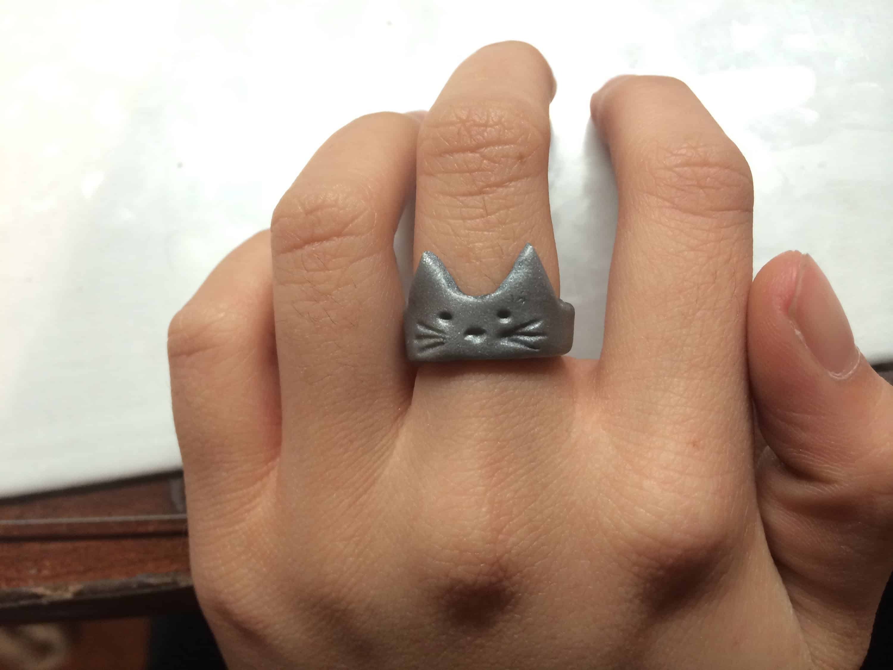 Polymer clay kitty cat ring