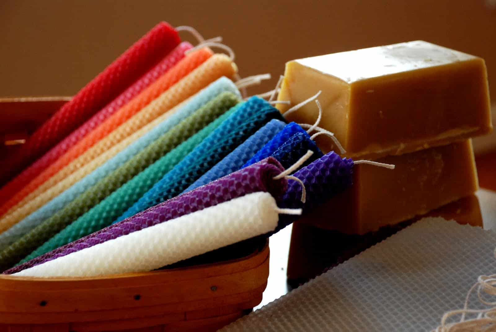 Rainbow rolled beeswac candles